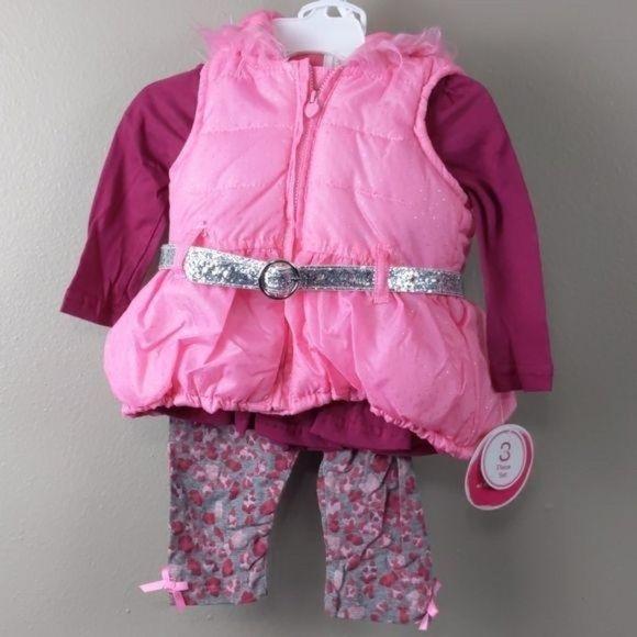 3pc. Puffer vest w/hood, Top, & pants 12M (NWT)